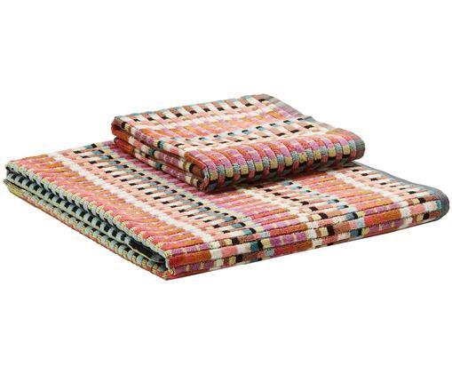 Set asciugamani Walbert, 2 pz., Multicolore, Diverse dimensioni