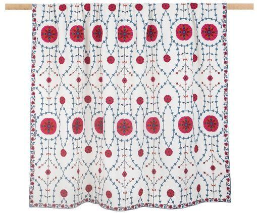 Haftowana narzuta Tabula, 55% bawełna, 45% wiskoza, Kremowobiały, wielobarwny, S 160 x D 220 cm