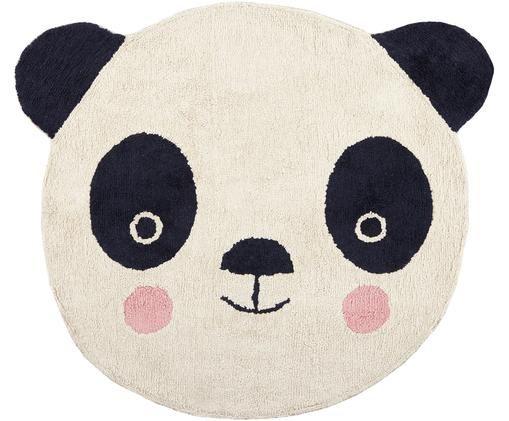 Dywan z wełny Panda, Czarny, złamana biel, blady różowy, S 80 x D 120 cm