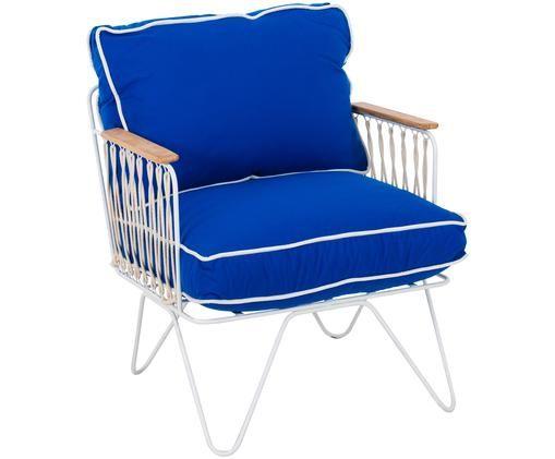 Handgefertiger Loungesessel Croisette in Blau, Bezug: Polyester, Gestell: Metall, lackiert, Armlehnen: Kiefernholz, Blau, B 70 x T 60 cm