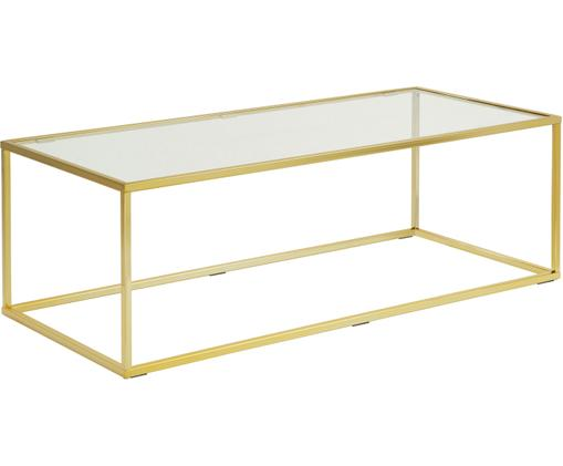 Konferenční stolek se skleněnou deskou Maya, Deska stolu: sklo, transparentní Rám: lesklá zlatá