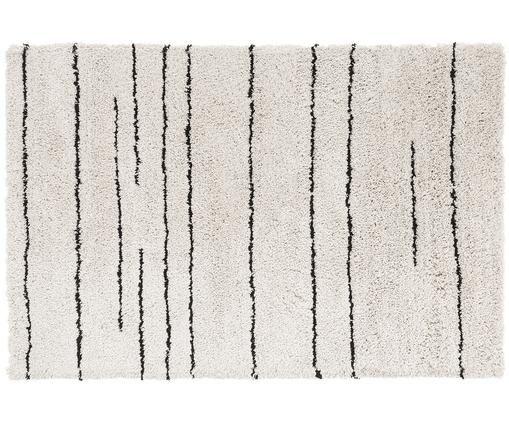 Alfombra artesanal Dunya, Parte superior: 100% poliéster, Reverso: 100% algodón, Beige, negro, An 120 x L 180 cm (Tamaño S)