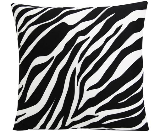 Federa arredo  reversibile Zebra Pattern, Poliestere, Bianco, nero, Larg. 45 x Lung. 45 cm