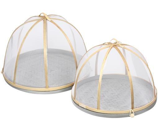 Set piatti da portata Makoto, 2 pz., Cornice: legno di bambù, Beige, bianco, grigio, Diverse dimensioni