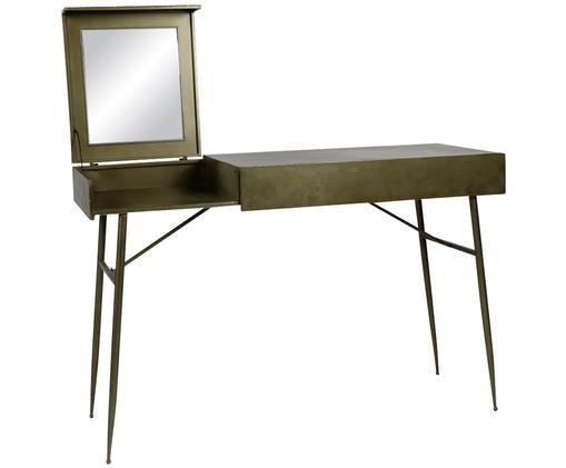 Tavolo da trucco in metallo Beautyoffice, Superficie dello specchio: lastra di vetro, Verde oliva, Larg. 120 x Prof. 45 cm