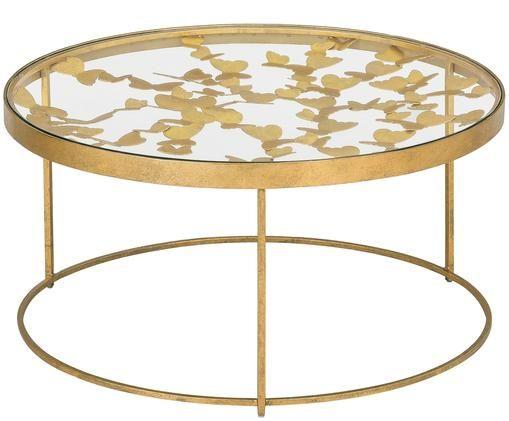 Tavolino da salotto con piano in vetro Butterfly, Piano d'appoggio: vetro, Struttura: metallo, rivestito, Dorato, Ø 80 x Alt. 40 cm