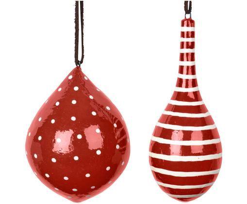 Decorazioni natalizie pendenti Dyo 2 pz, Rosso, bianco