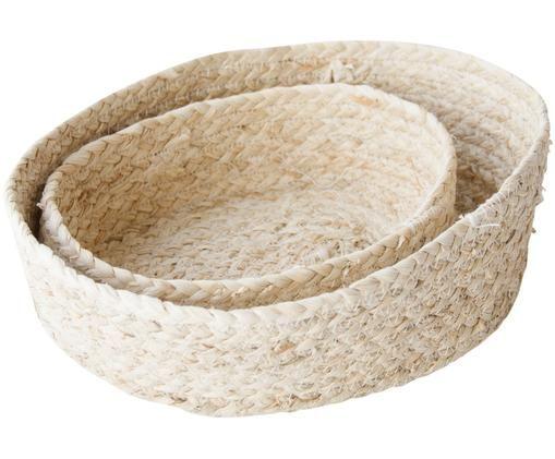 Set di cestini per il pane fatto a mano Mais, 2 pz., Foglie di mais intrecciate, Beige chiaro, Diverse dimensioni