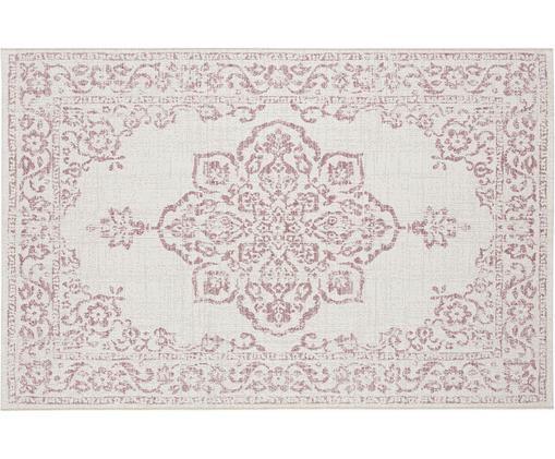 In- und Outdoorteppich Tilos im Vintage Look, Polypropylen, Creme, Rosa, B 120 x L 170 cm (Größe S)