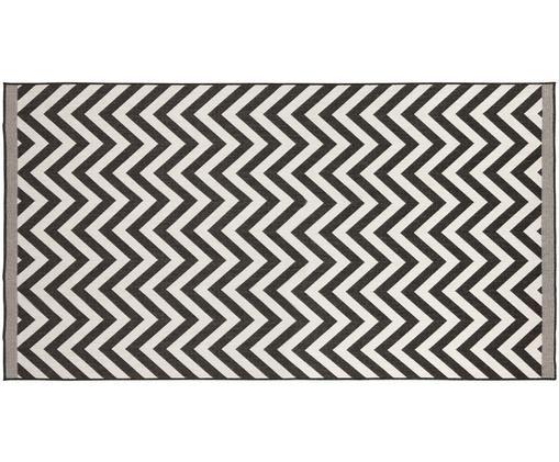 In- und Outdoorteppich Palma mit Zickzack-Muster, beidseitig verwendbar, Schwarz, Creme, B 80 x L 150 cm (Größe XS)
