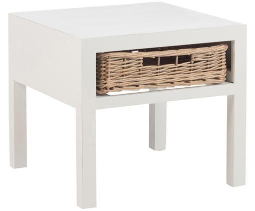 Nachttisch Basket, Weiß, Braun