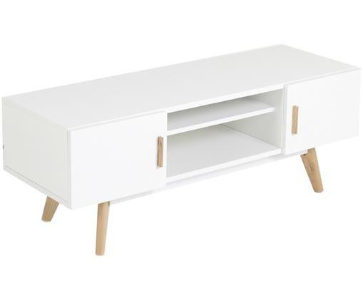 Tv-meubel Flamy, Wit, eikenhoutkleurig