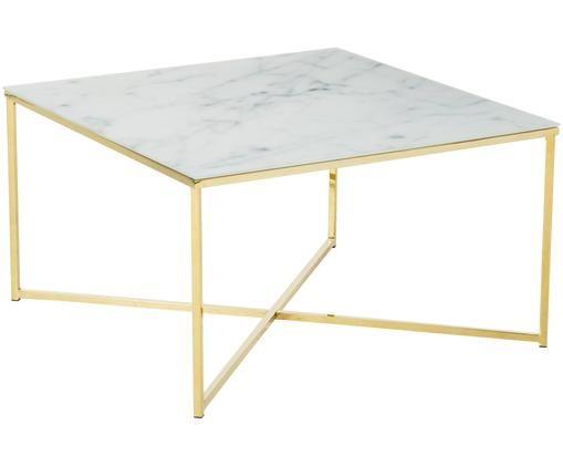 Couchtisch Antigua mit marmorierter Glasplatte, Tischplatte: Sicherheitsglas, matt bed, Gestell: Stahl, vermessingt, Weiß, Messing, 80 x 45 cm