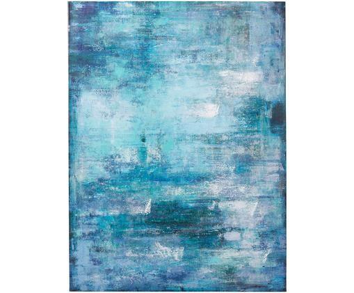 Handbemalter Leinwanddruck Touched Abstract, Blau-, Grün- und Weißtöne