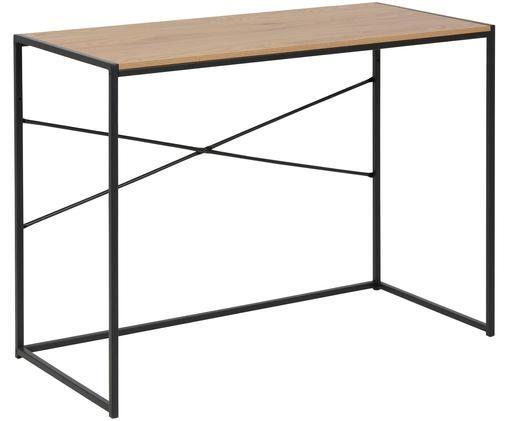 Wąskie biurko z drewna i metalu Seaford