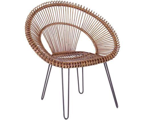 Poltrona in rattan Estaban, Seduta: rattan, Gambe: acciaio, Seduta: rattan Gambe: acciaio, Larg. 64 x Alt. 89 cm