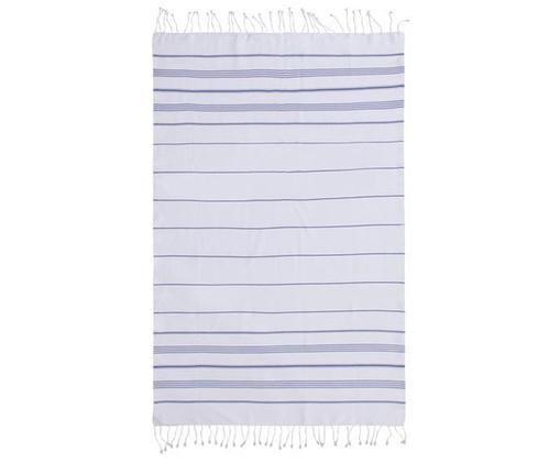 Hamamtuch Mykonos, Baumwolle, sehr leichte Qualität, 145 g/m², Blau, Weiß, 100 x 200 cm