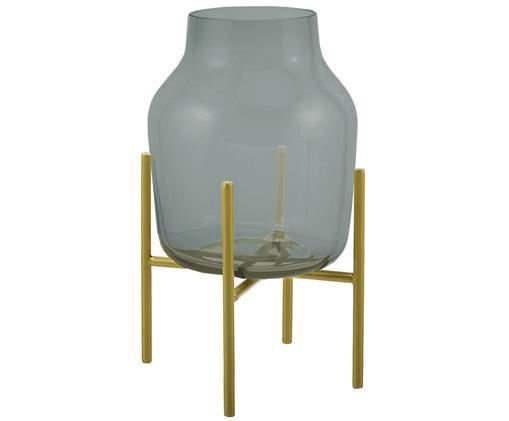 Vaso Lars, Vaso: vetro, Struttura: metallo verniciato a polv, Vaso: verde, trasparente struttura: dorato, opaco, Ø 17 x Alt. 30 cm