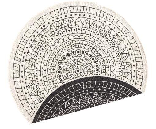 Tappeto reversibile da interno-esterno Porto, Nero, color crema, Ø 200 cm