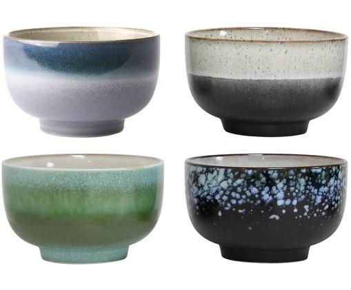 Set ciotole artigianali 70's, 4 pz., Nero, blu, verde
