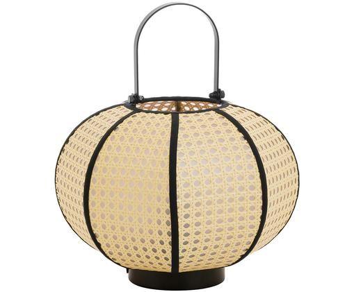 Lámpara de mesa Retro, Pantalla: beige, negro Base de la lámpara y asa: negro mate Cable: negro