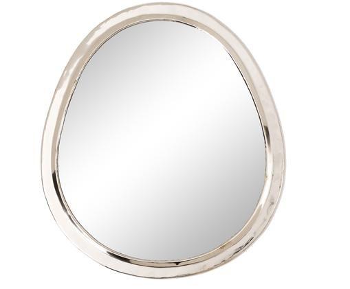Handgefertigter Wandspiegel Egg, Silber