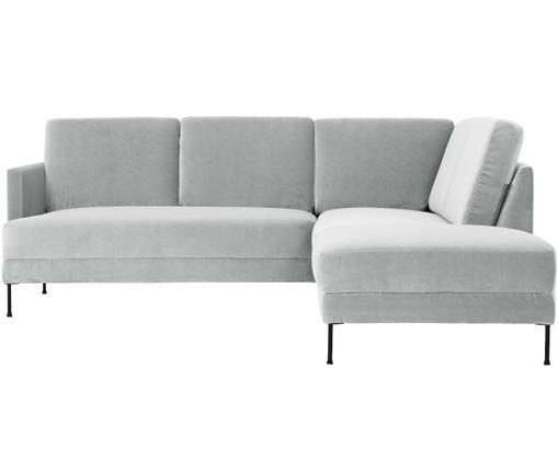 Sofa narożna z aksamitu Fluente, Tapicerka: aksamit (wysokiej jakości, Stelaż: lite drewno sosnowe, Nogi: metal lakierowany, Jasny szary, S 221 x G 200 cm
