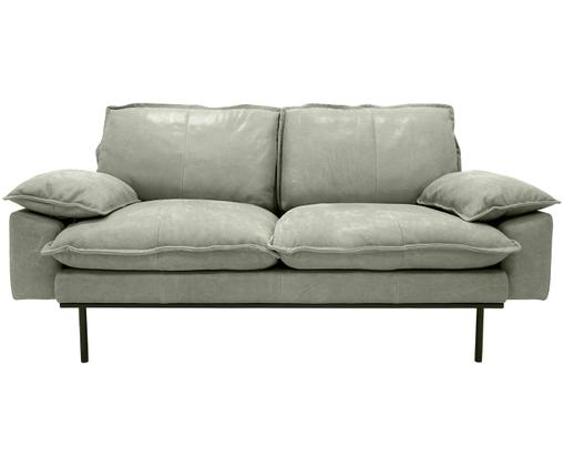 Leder-Sofa Retro (2-Sitzer), Mint, Schwarz