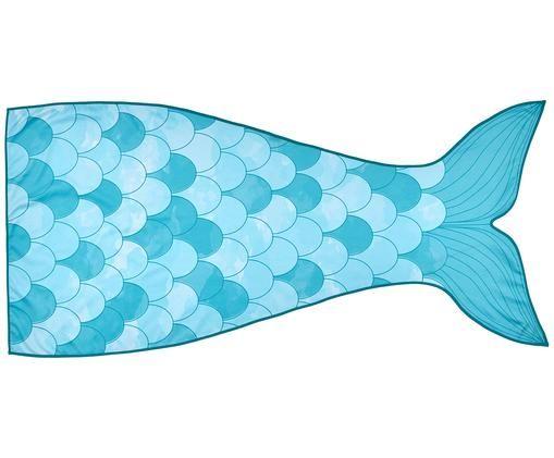 Ręcznik plażowy Mermaid, 55% poliester, 45% bawełna Bardzo niska gramatura 340 g/m², Jasny niebieski, turkusowy, biały, S 87 x D 180 cm