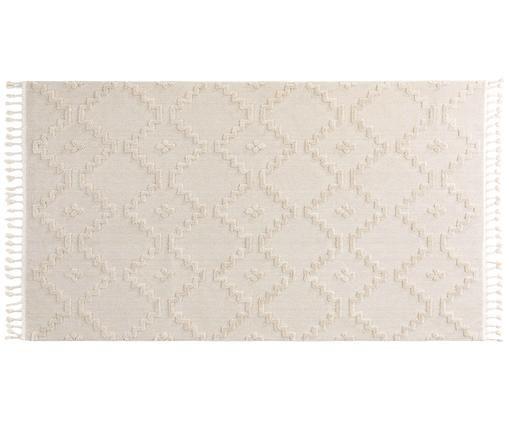 Tappeto con ottica in rilievo color crema Oyo, Crema
