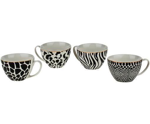 Tassen-Set Wild Jungle, 4-tlg., Porzellan, Schwarz, Weiß, Ø 12 x H 8 cm