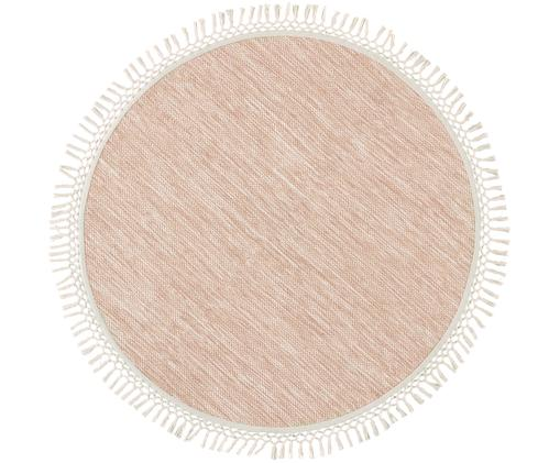 Waschbarer runder Teppich Sibi mit Fransen, Baumwolle, Hellbeige, Rosa, Ø 100 cm (Größe XS)
