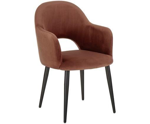 Krzesło z podłokietnikami z aksamitu Rachel, Tapicerka: aksamit (poliester) 5000, Nogi: metal malowany proszkowo, Tapicerka: ciemny czerwony Nogi: czarny, matowy, S 47 x G 64 cm