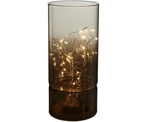 LED tafellamp Mirror buis, batterij aangedreven, Grijs, Ø 9 x H 20 cm