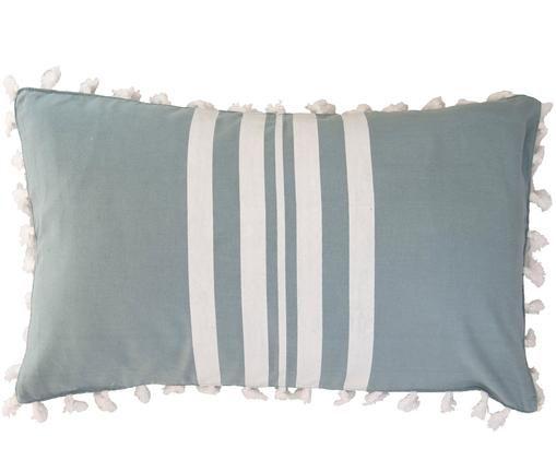 Federa arredo con nappe Guetary, 50% cotone, 50% poliestere, Bianco latteo, blu, Larg. 30 x Lung. 50 cm