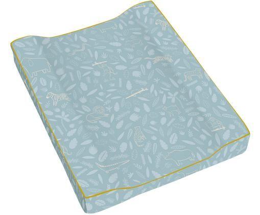 Colchón cambiador de algodón ecológico Wildlife, Exterior: algodón ecológico, Azul, An 50 x L 63 cm