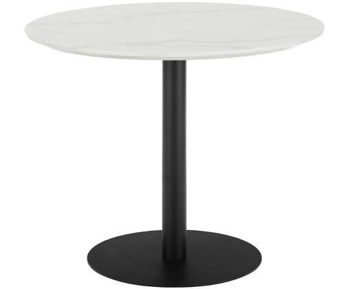 Runder Esstisch Karla in Marmoroptik, Tischplatte: Mitteldichte Holzfaserpla, Tischplatte: Weiß, marmoriert Tischbein: Schwarz, matt, ∅ 90 x H 75 cm