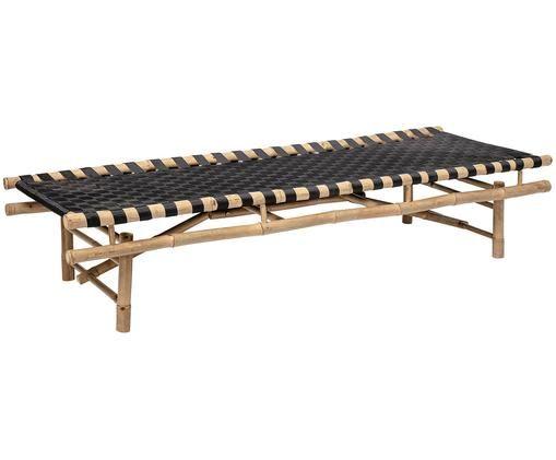 Garten-Daybed aus Bambus mit Polsterauflage, Gestell: Bambusholz, Hellbraun, Schwarz, B 190 x T 70 cm