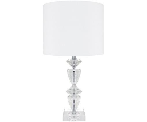 Tischleuchte Crystal aus Kristallglas, Lampenschirm: Textil, Lampenfuß: Kristallglas, Lampenschirm: Weiß, Lampenfuß: Transparent, Kabel: Weiß, Ø 28 x H 56 cm