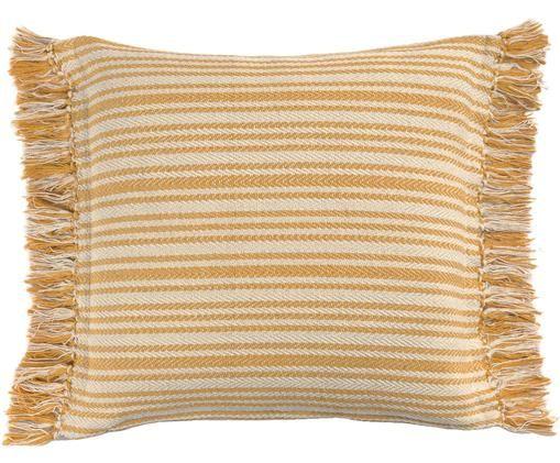 Gestreifte Kissenhülle Puket, Baumwolle, Gebrochenes Weiß, Senfgelb, 45 x 45 cm