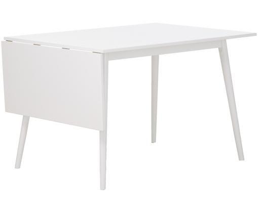 Verlängerbarer Esstisch Trym in Weiß, Tischplatte: Weiß Beine: weiß