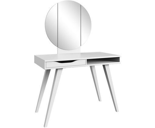 Toletta Alice con specchio pieghevole in bianco, Bianco