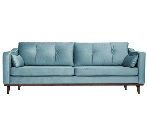 Canapé en velours Alva (3places), Revêtement: turquoise Pieds: hêtre, teinte sombre