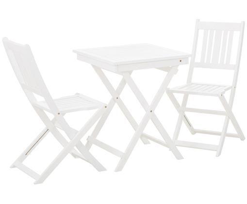 Komplet mebli ogrodowych Skyler, 3 elem., Biały, Różne rozmiary
