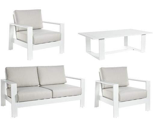 Zewnętrzny komplet wypoczynkowy, 4 elem., Stelaż: aluminium malowane proszk, Tapicerka: poliester, Biały, jasny szary, Różne rozmiary