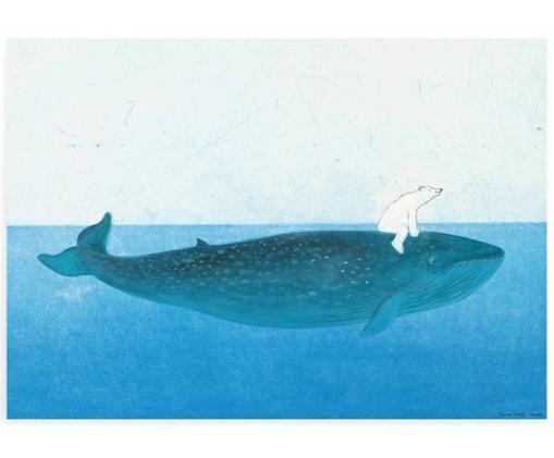 Póster Riding the Whale, Papel, Tonos azul, An 59 x Al 42 cm