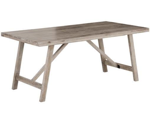 Mesa de comedor de madera maciza Memphis, Madera de mango maciza pintada, Madera de mango con lavado en blanco, An 180 x Al 76 cm