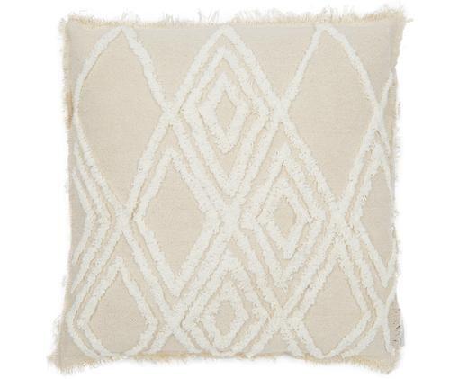 Coussin en coton Unfiny, Blanc ivoire, beige clair