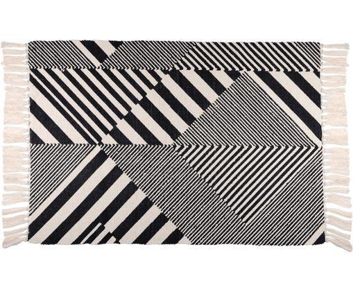 Tappeto in cotone con motivi grafici Beely, Cotone, Nero, bianco latteo, Larg. 60 x Lung. 90 cm (taglia XXS)