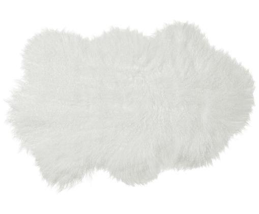 Pelle di pecora a pelo lungo Curly, Vello: 100% pelle di pecora, Retro: 100% pelle, conciata senz, Avorio, Larg. 60 x Lung. 80 cm